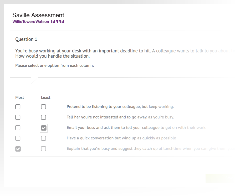 Screenshot of one of our aptitude tests
